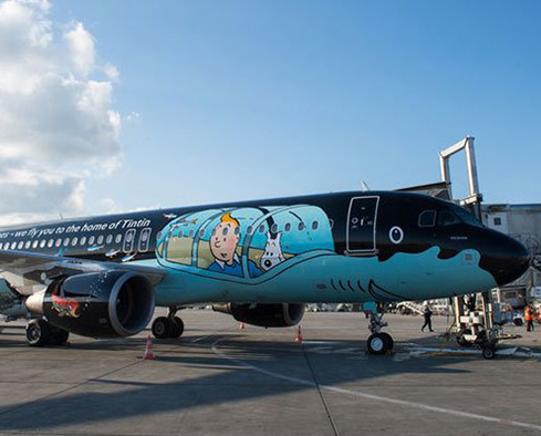 Brussels Airlines, tintin, turismo, content marketing, avião
