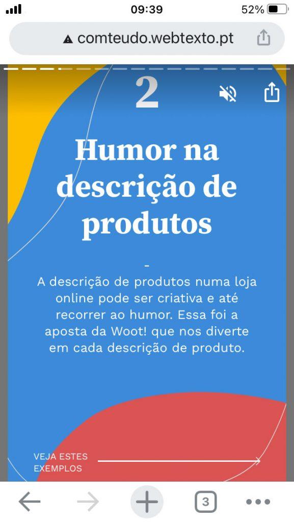 Google Web Stories em mobile