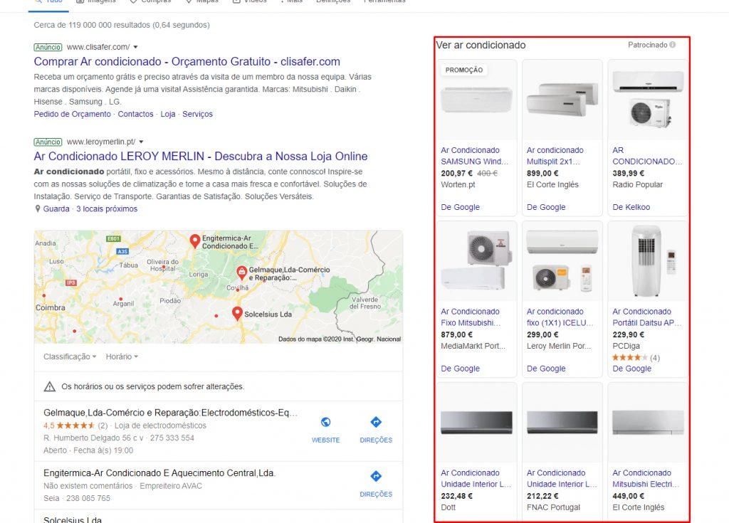 anúncios de google shopping